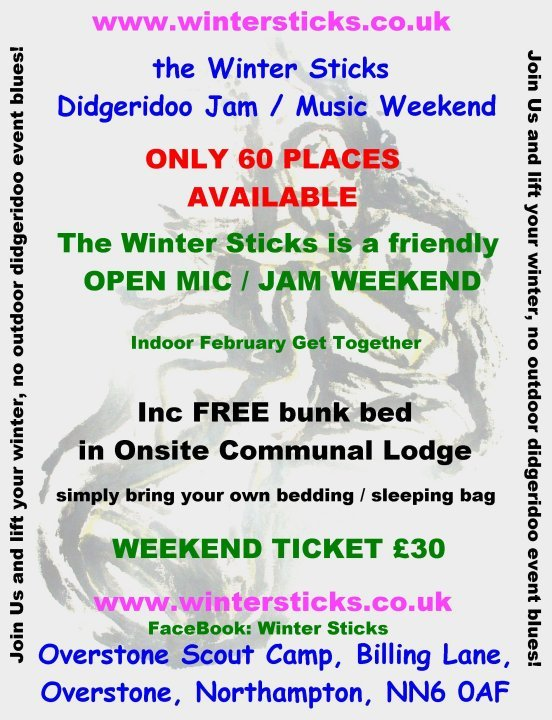 Winter Sticks Didgeridoo / Music Jam ONLY 60 PLACES AVAILABLE!